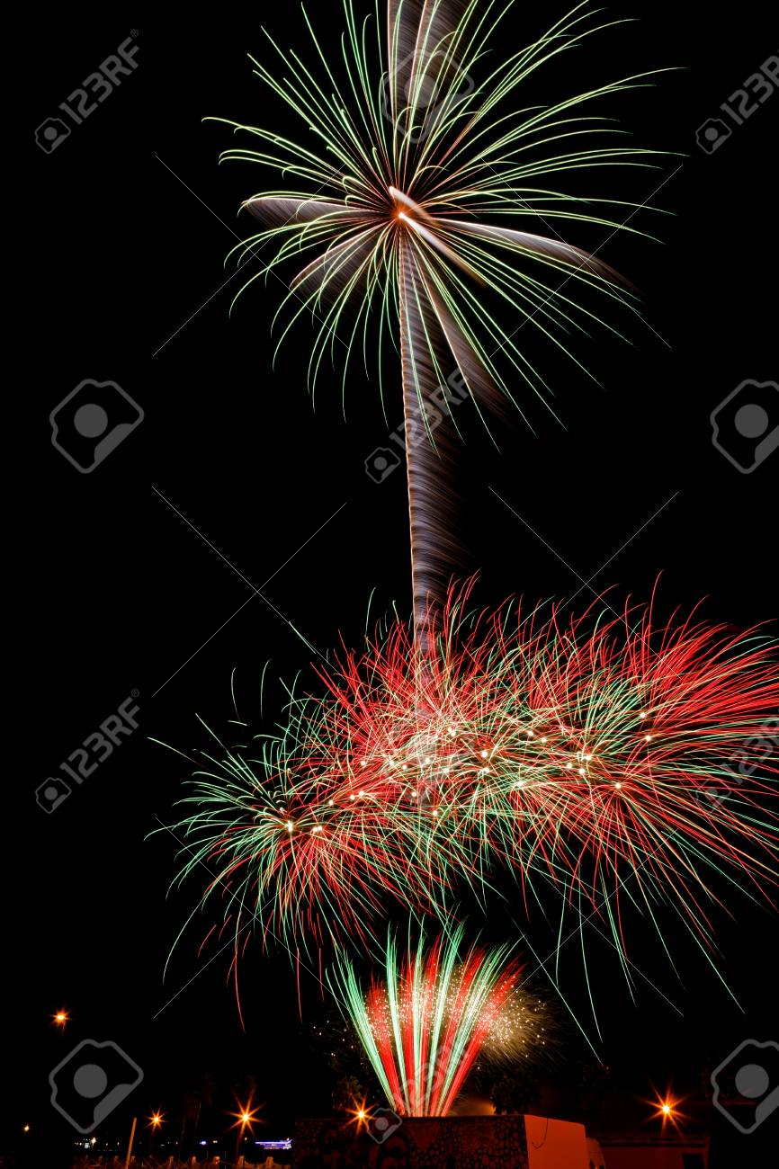 Firework streaks in the night sky Stock Photo - 11331158