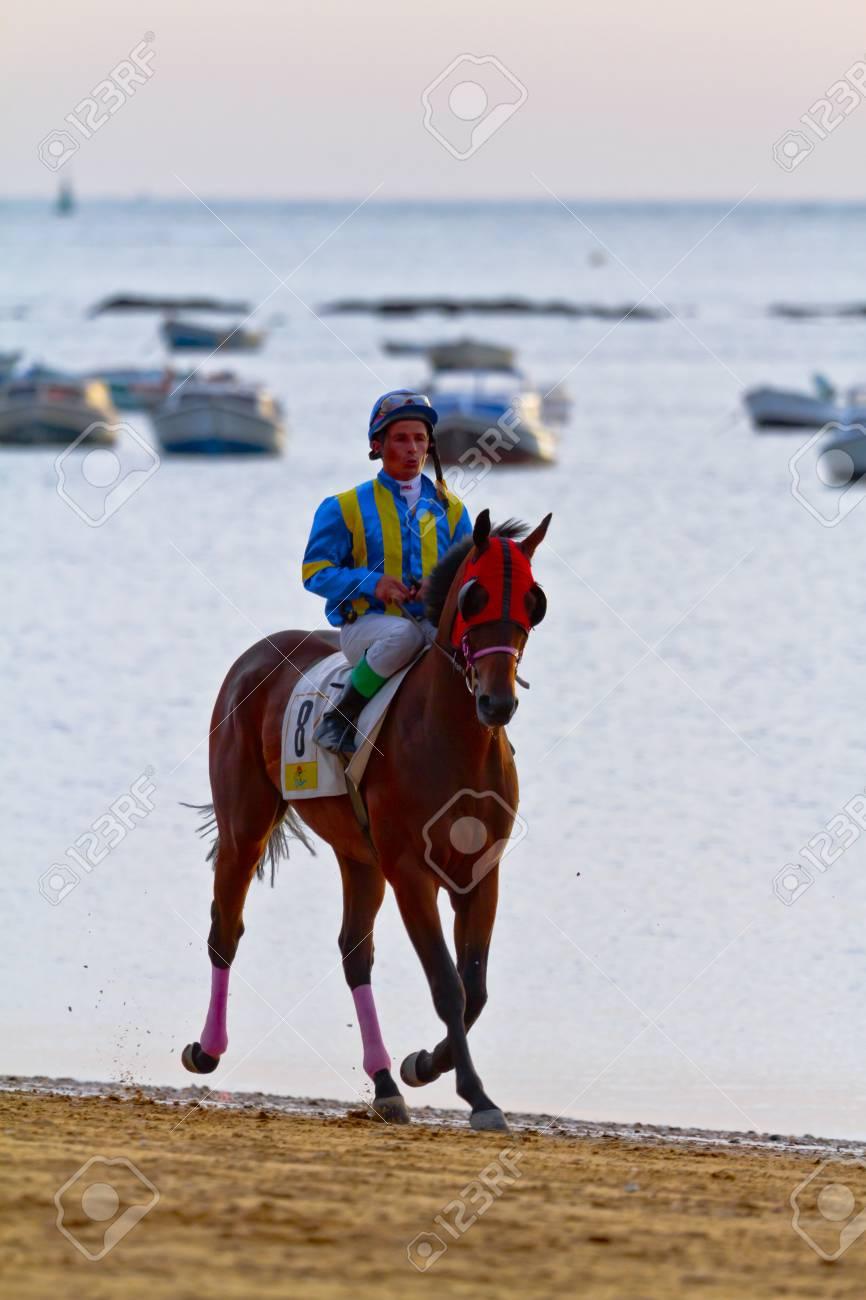 SANLUCAR DE BARRAMEDA, CADIZ, SPAIN - AUGUST 11: Unidentified rider at the start of race horses on Sanlucar de Barrameda beach on August 11, 2011 in Sanlucar de Barrameda, Cadiz, Spain. Stock Photo - 11521009