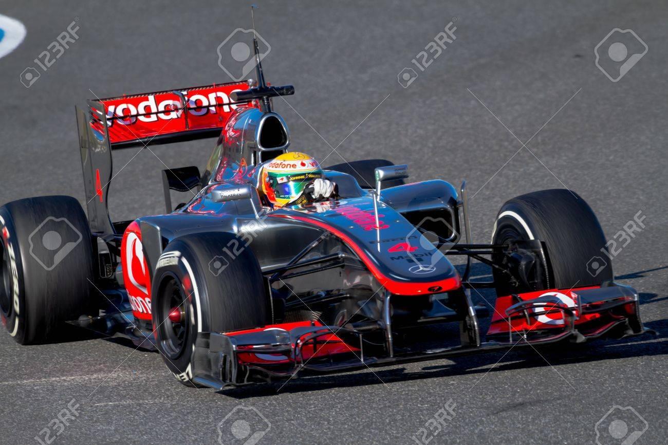 JEREZ DE LA FRONTERA, SPAIN - FEB 09: Lewis Hamilton of McLaren F1 races on training session on February 09 , 2012, in Jerez de la Frontera , Spain Stock Photo - 13022457
