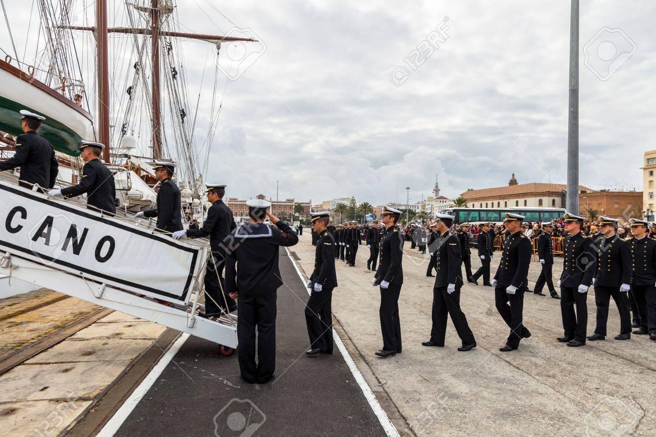CADIZ, SPAIN - APR 01:  Midshipmen embarking on the Spanish Navy Training Ship, Juan Sebastian de Elcano for the  83rd cruise of instruction on April 01 , 2012, in Cadiz , Spain Stock Photo - 13257946