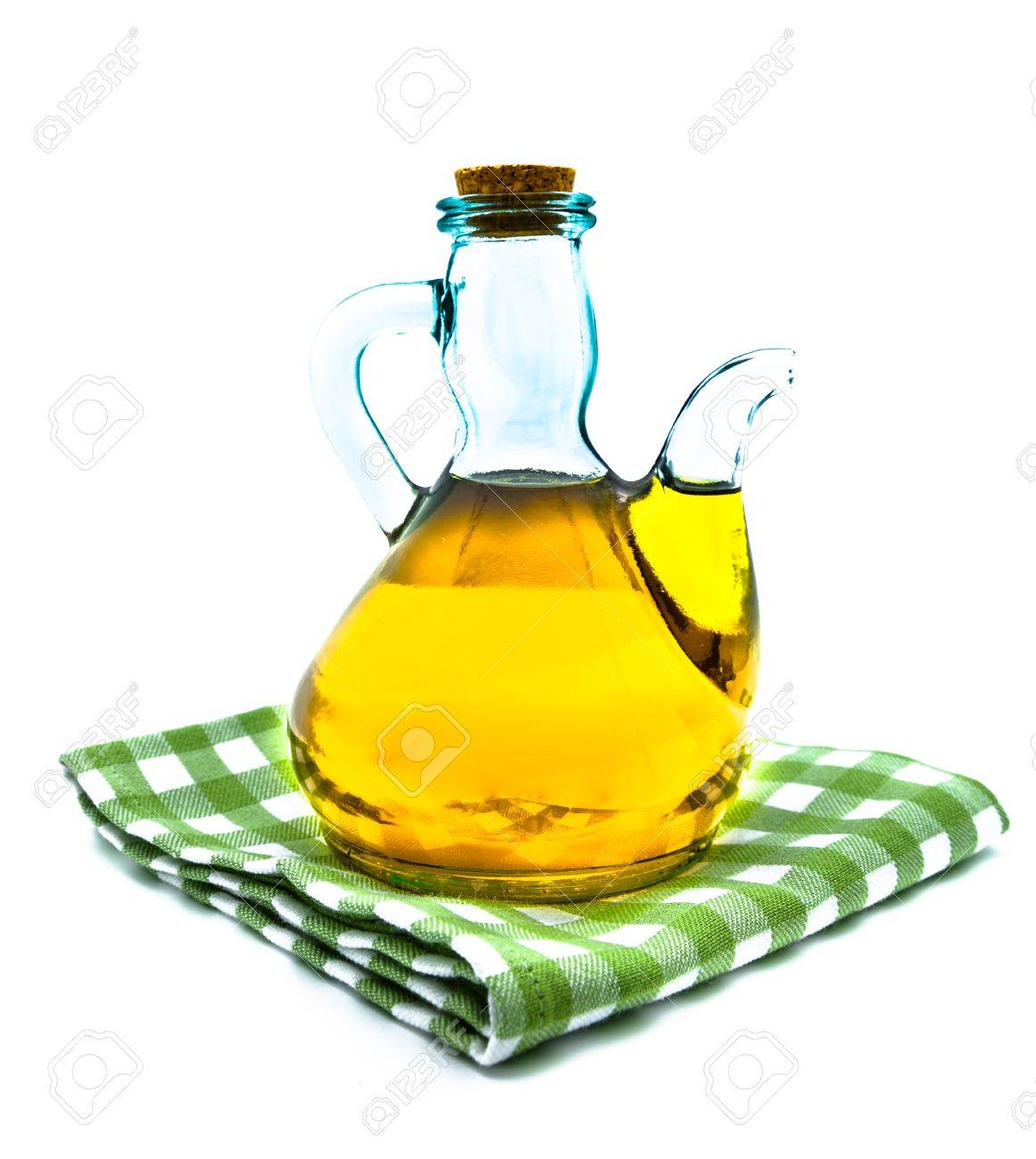 Olive Oil On A Oil Jar On A White Background