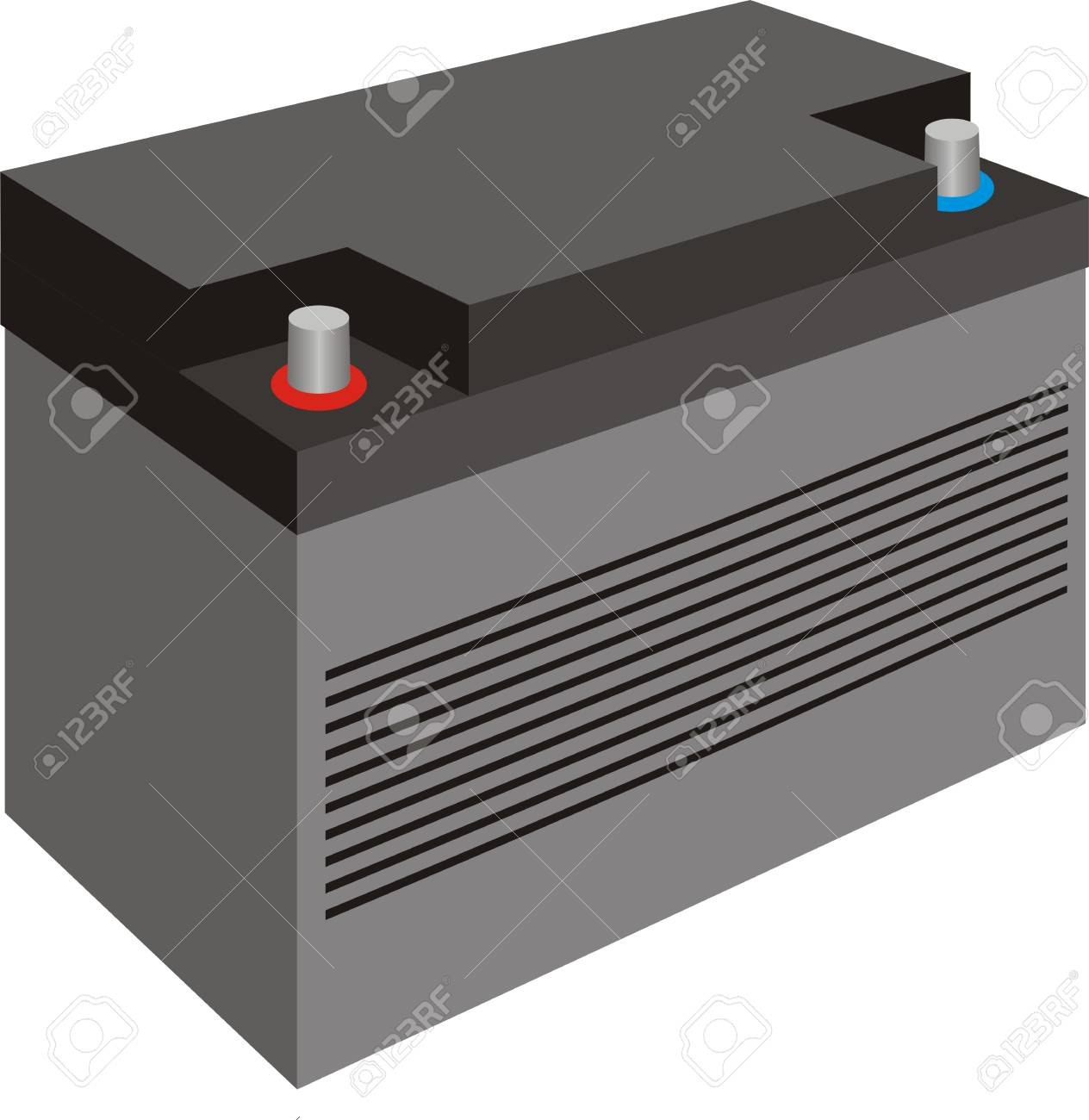 Generic black car battery with cover isolated on white Stock Vector - 19314531