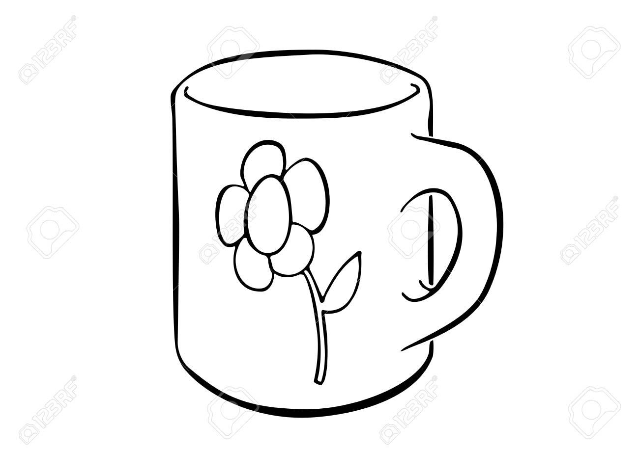 Simply Drawn Mug Decorated With A Flower Cartoon Like Illustration