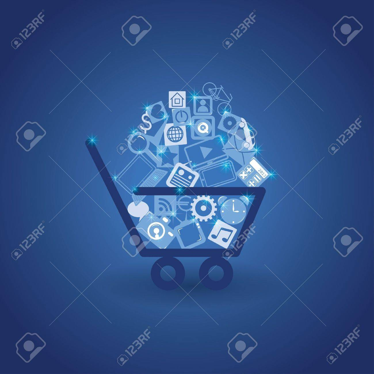 basket with shopping Stock Vector - 18154426