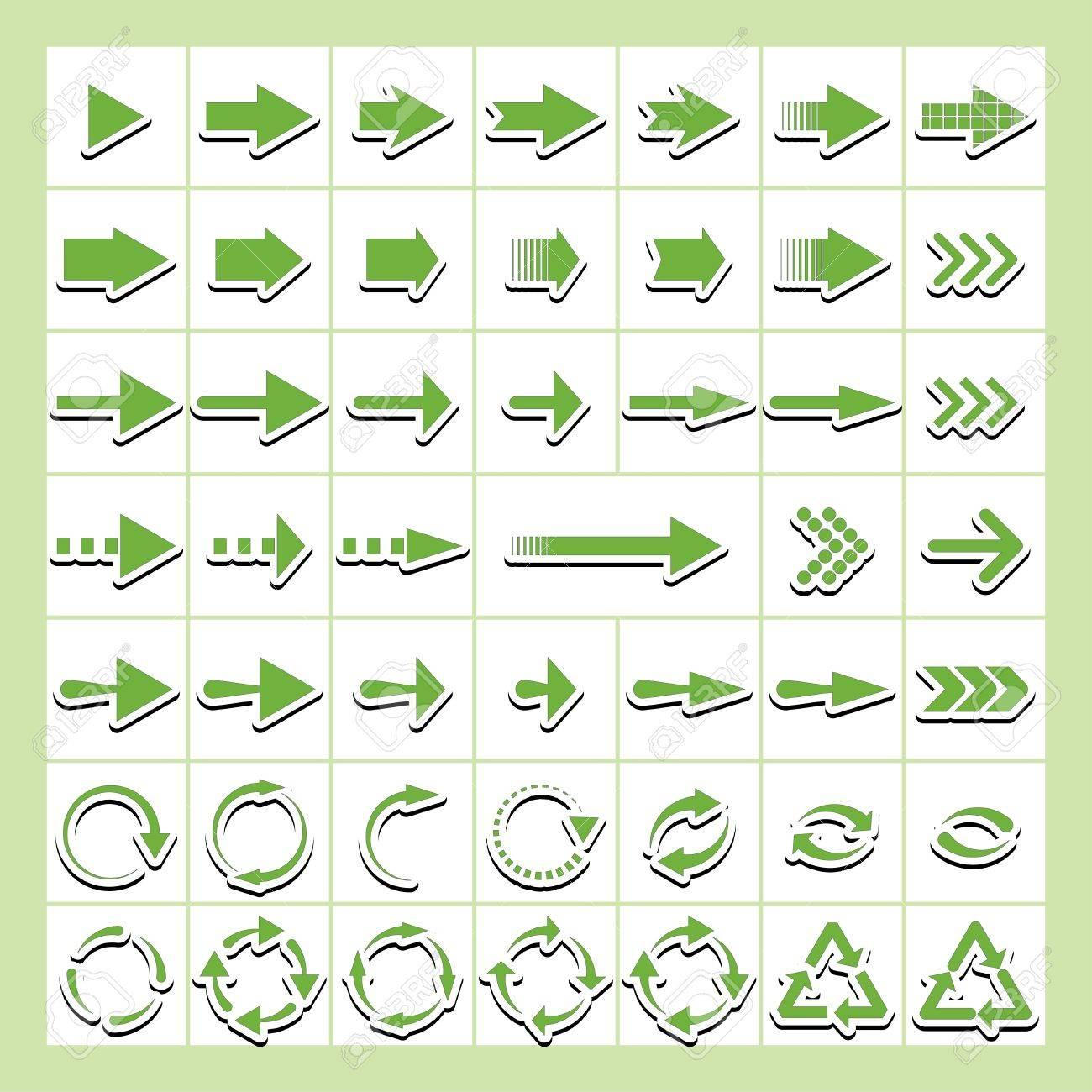 green arrows-stickers. Stock Vector - 19658060