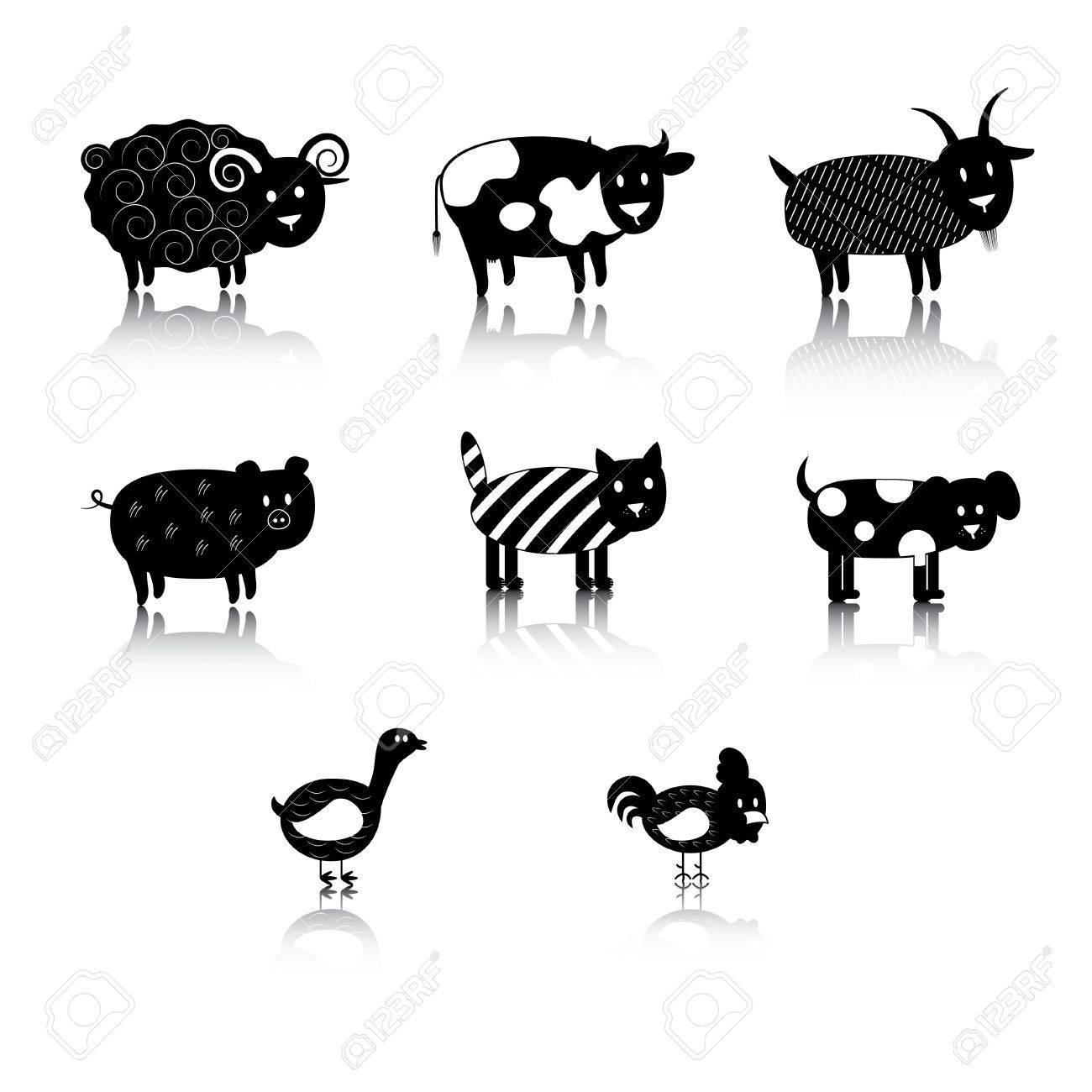 silhouette of farm animals. Stock Vector - 19658067