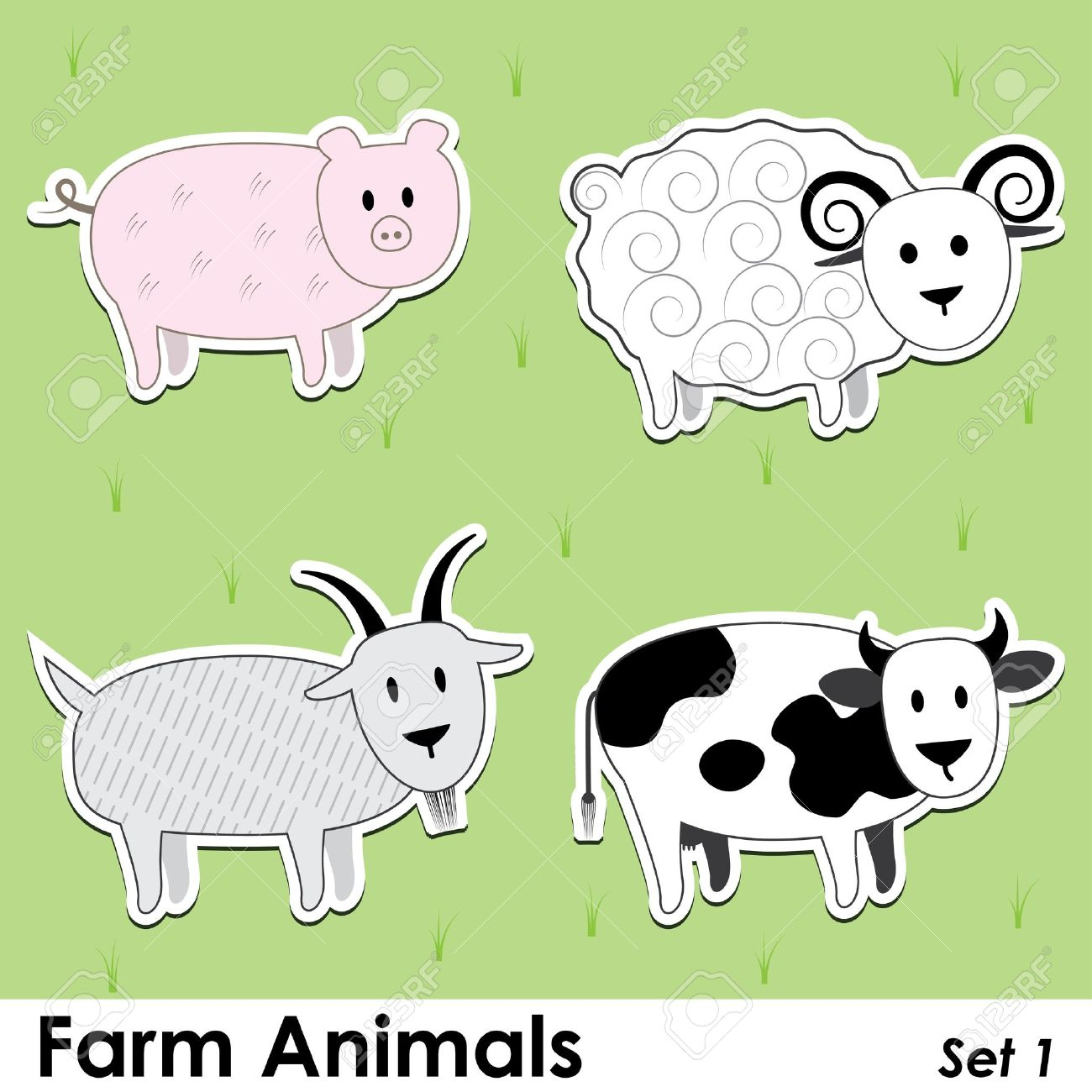 Farm Animals: Pig, Cow, Goat And Sheep Royalty Free Cliparts ...