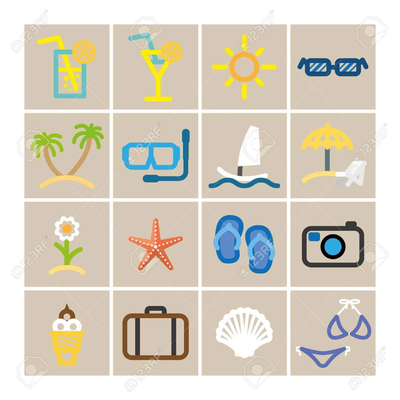 summer set icons in color. Stock Vector - 26040583