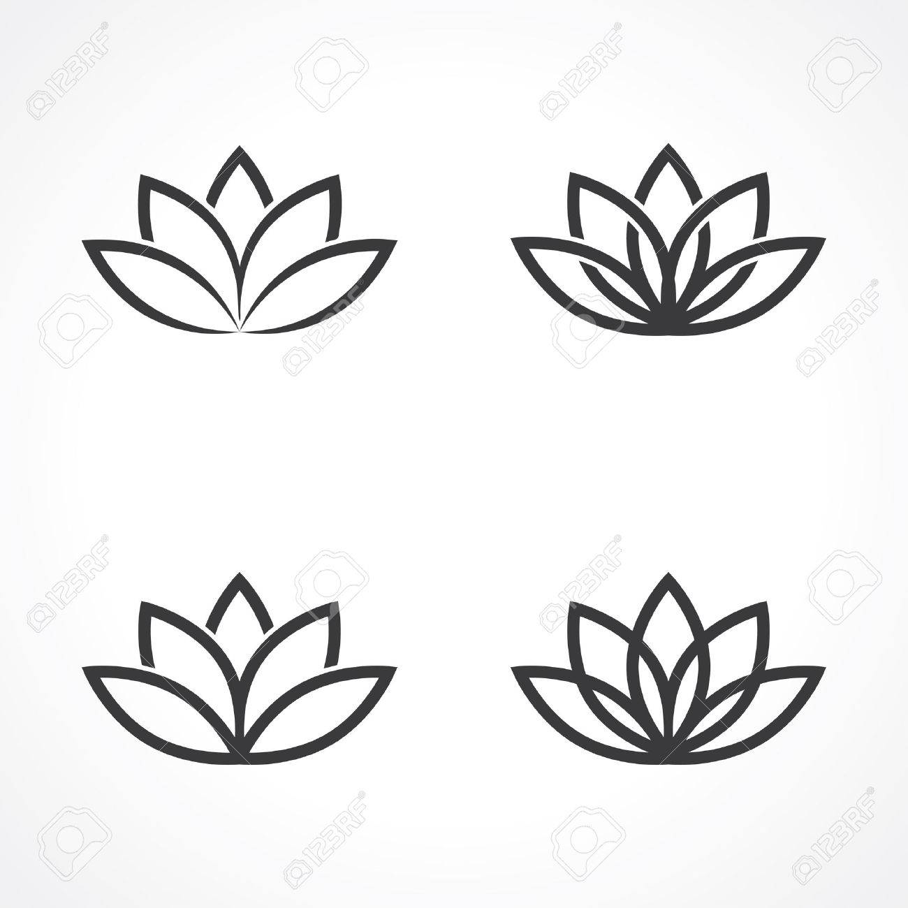 Abstract Lotus Symbols Royalty Free Kliparty Vektory A Ilustrace
