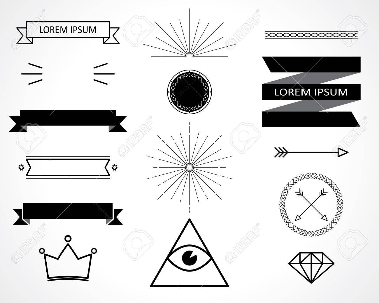 retro design elements. vector set. eps 8 - 32768557