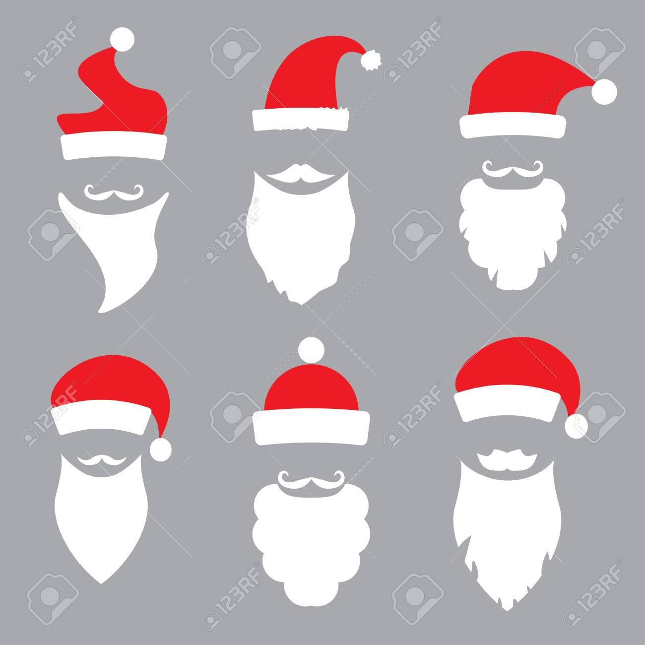 hats and beards Santa. vector set - 34317991