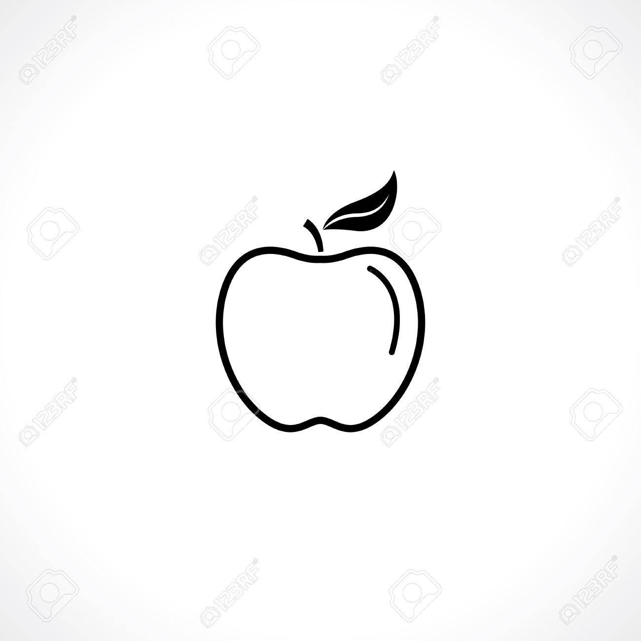 Apple Symbol Black Outline Icon Isolated On White