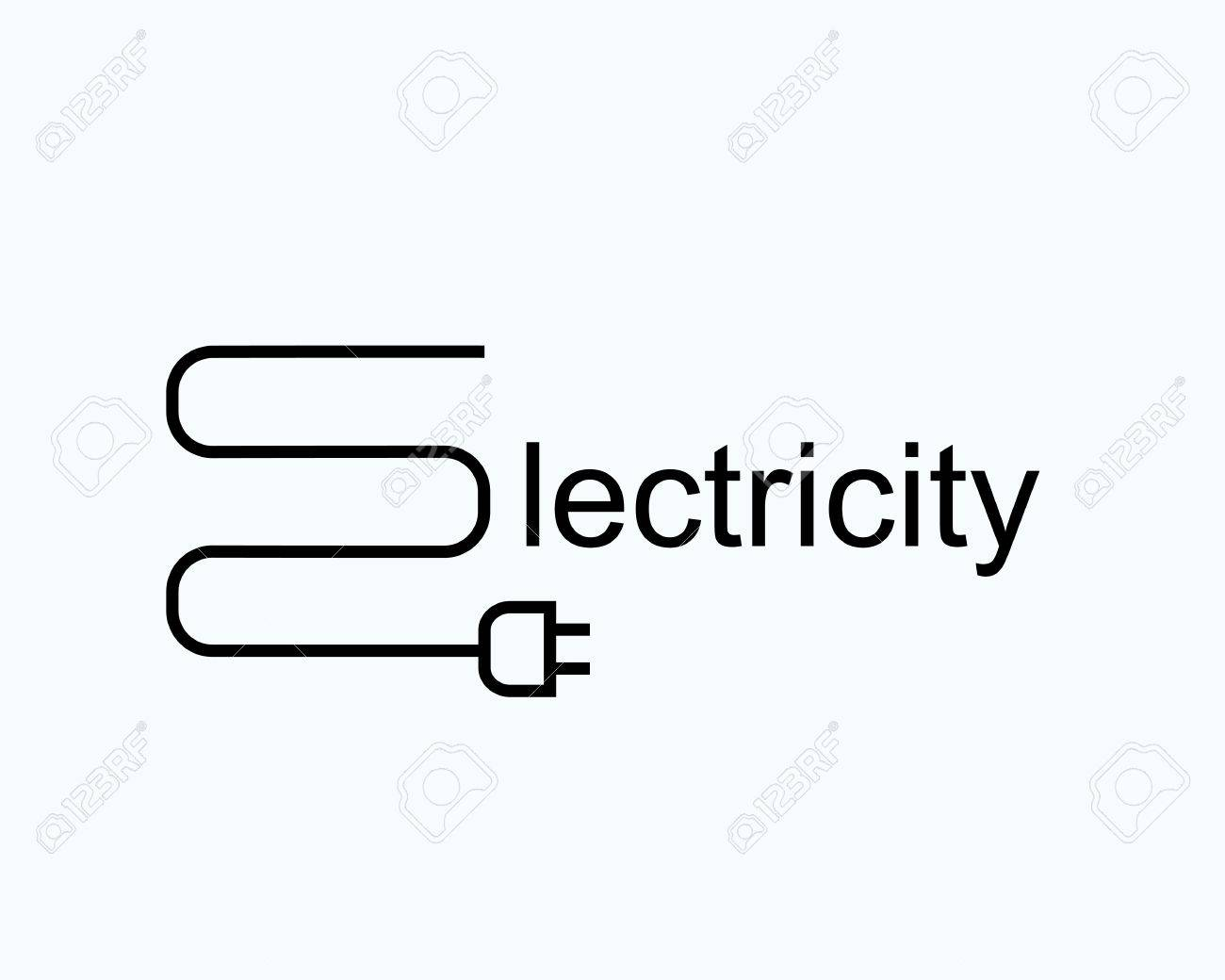 Wire With The Plug In The Form Of The Letter E. Symbol Of ...