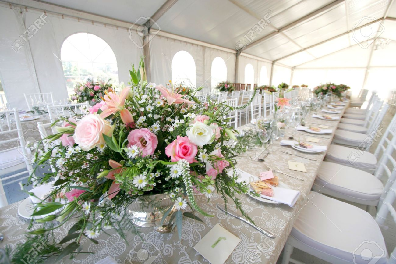 A table setup for a wedding reception in a big tent Stock Photo - 10435341 & A Table Setup For A Wedding Reception In A Big Tent Stock Photo ...