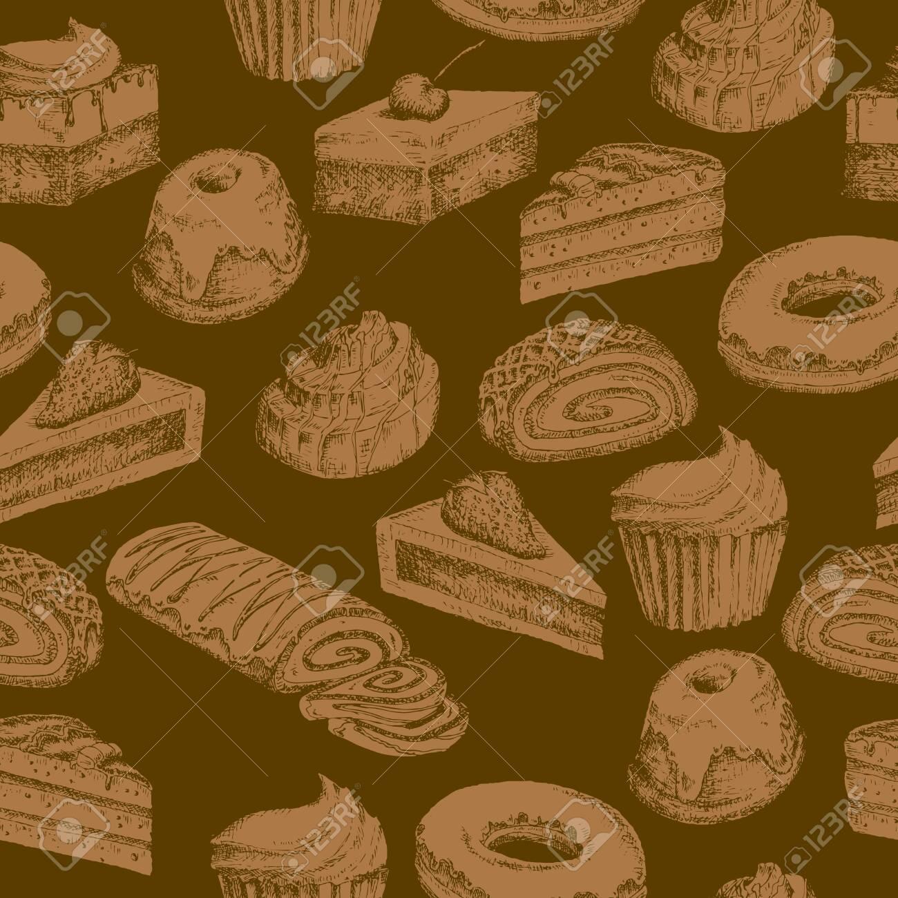 シームレスなケーキの壁紙のイラスト素材 ベクタ Image