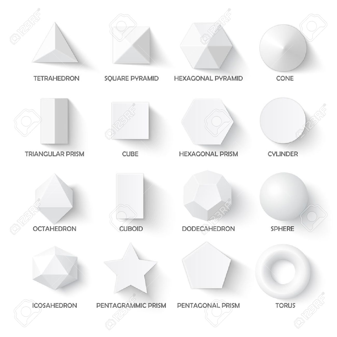 all basic 3d shapes template realistic with shadow perfect