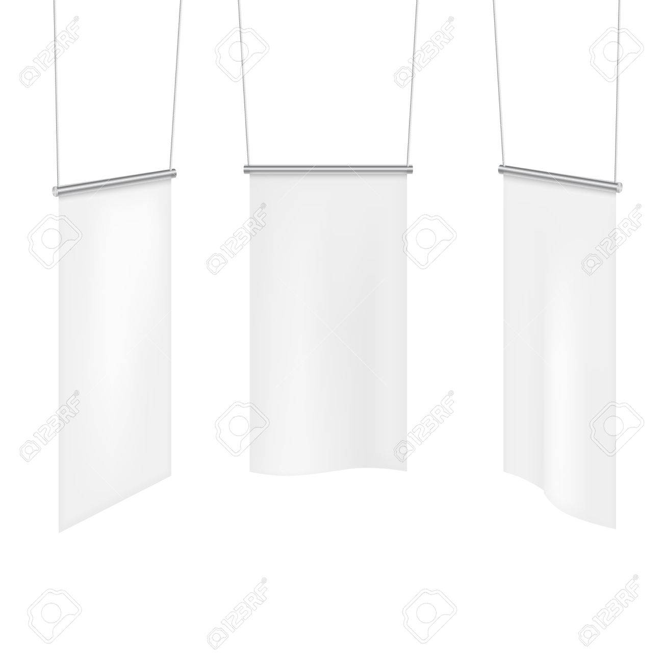 White textile banners folds template set  Canvas and blank banner,