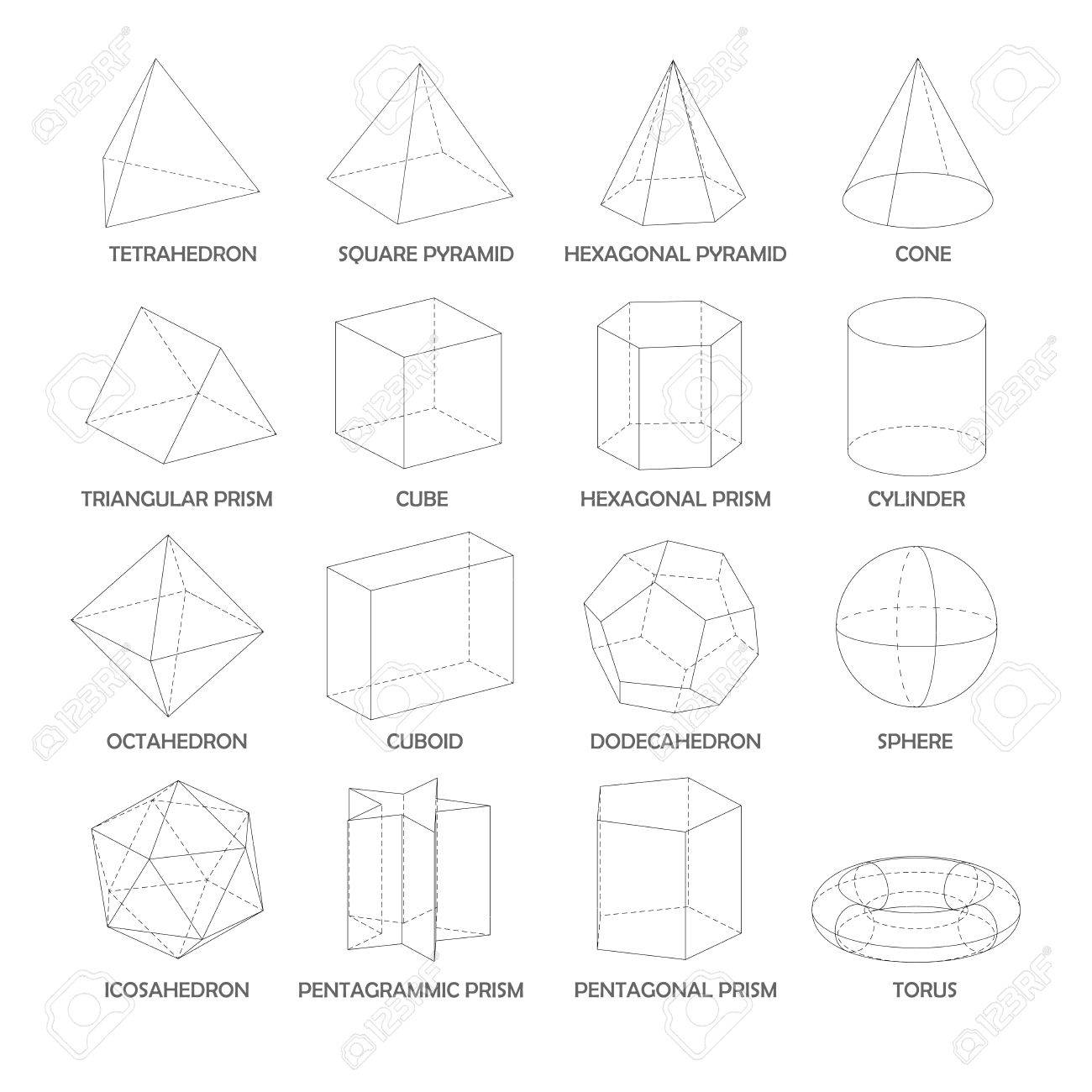 All Basic 3d Shapes Template. Realistic With Shadow Royalty Free ...