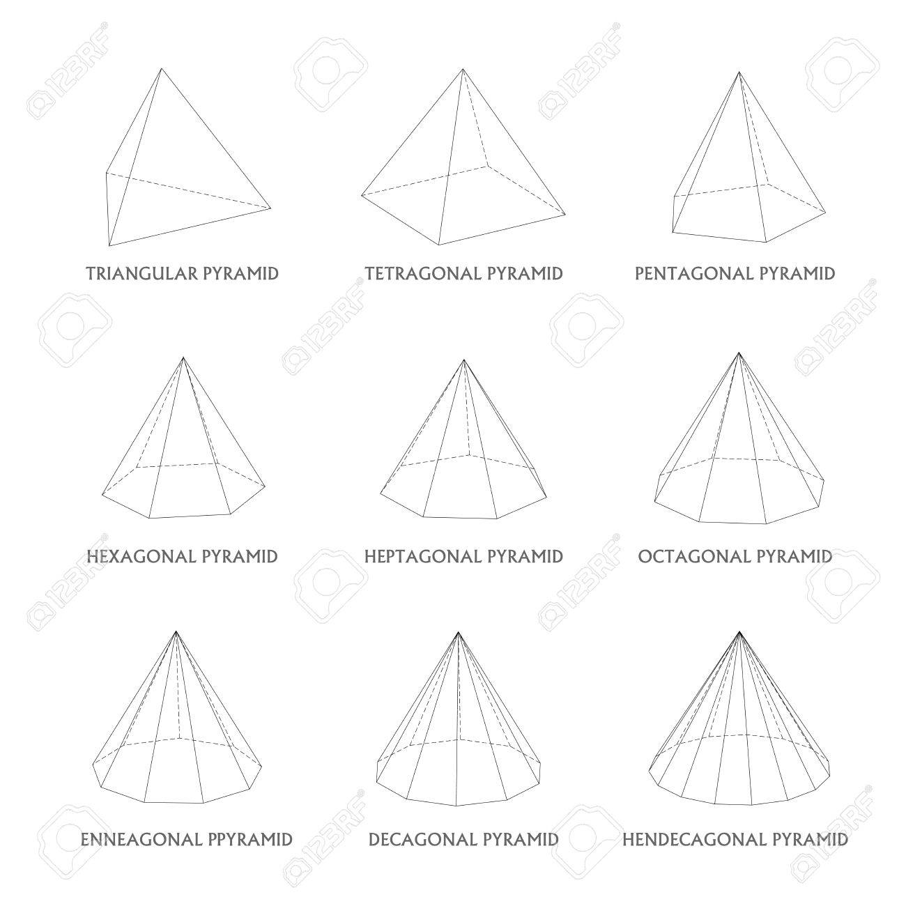 3d Pyramids Template. Realistic With Shadow Royalty Free Cliparts ...