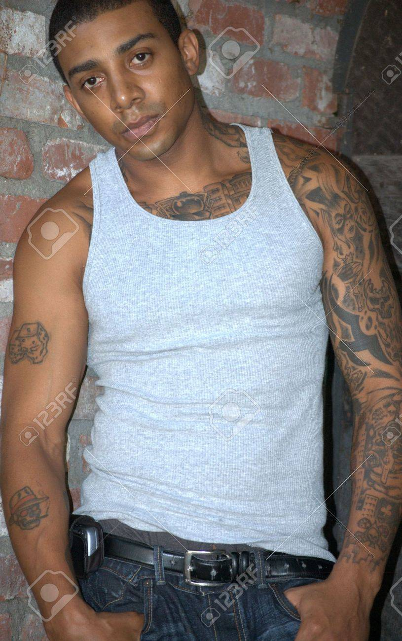 Tough looking black man with tattoos Stock Photo - 5481489