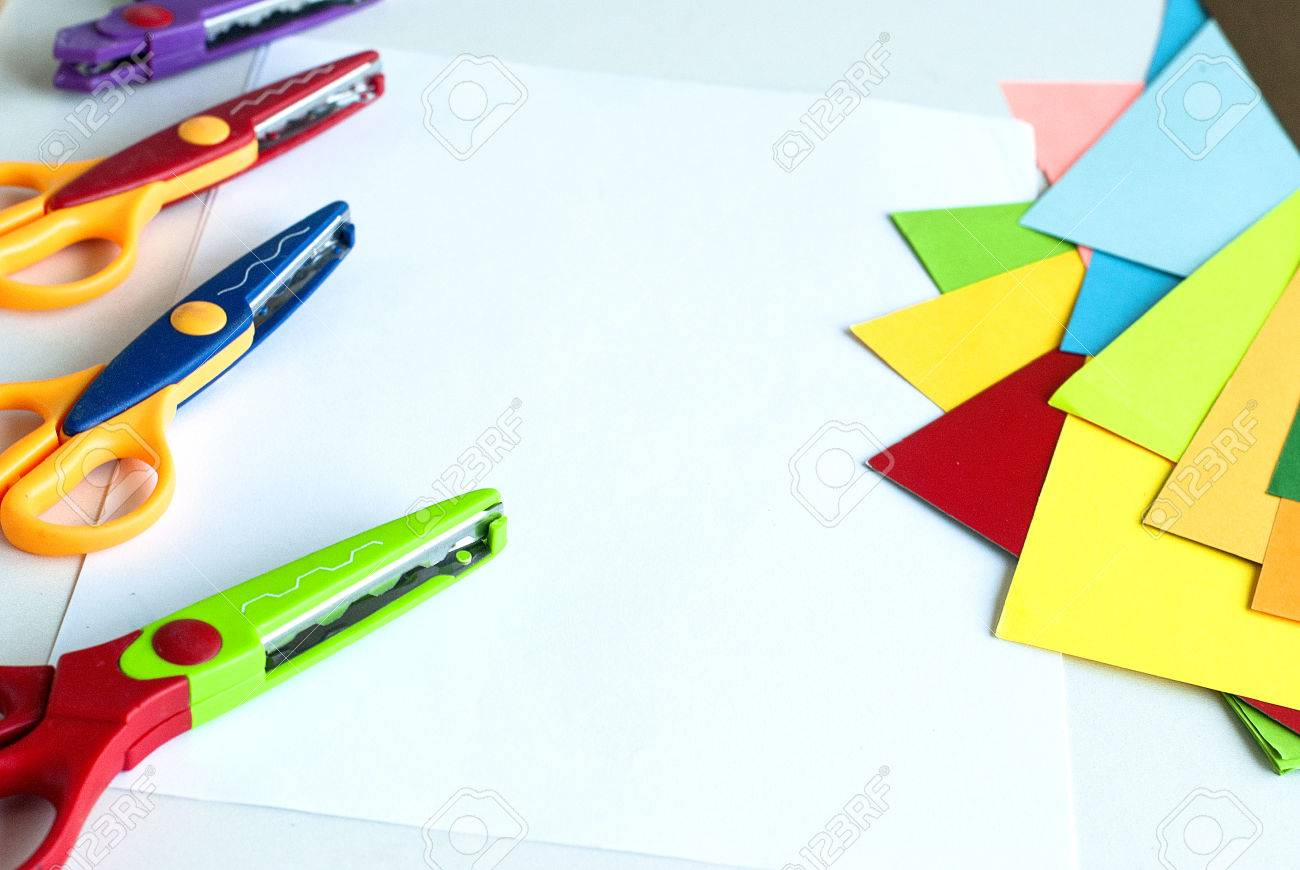 Curly Scissors And Colored Sheets Of Paper For Scrapbook Classes ...