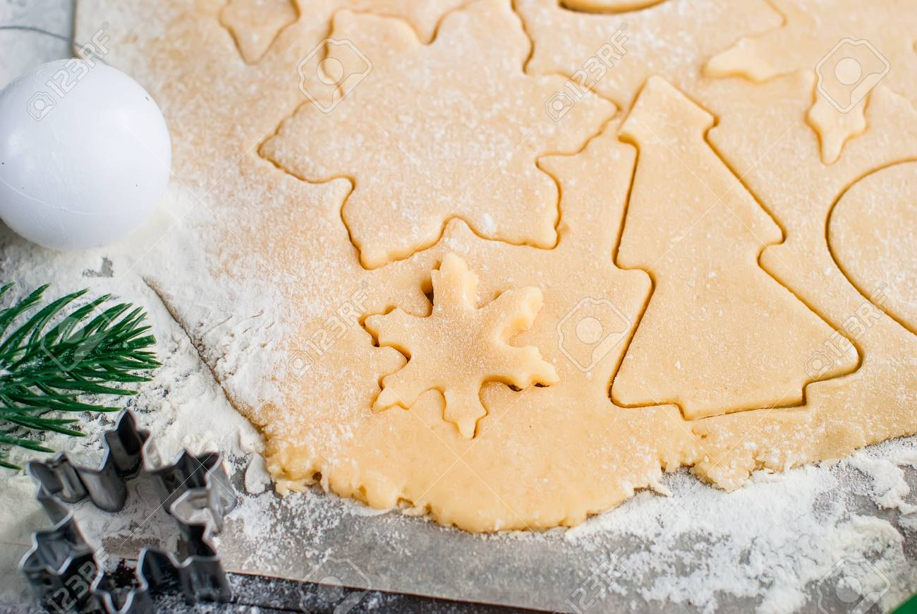 Gingerbread Cookie Dough And Christmas Cookie Cutters Baking