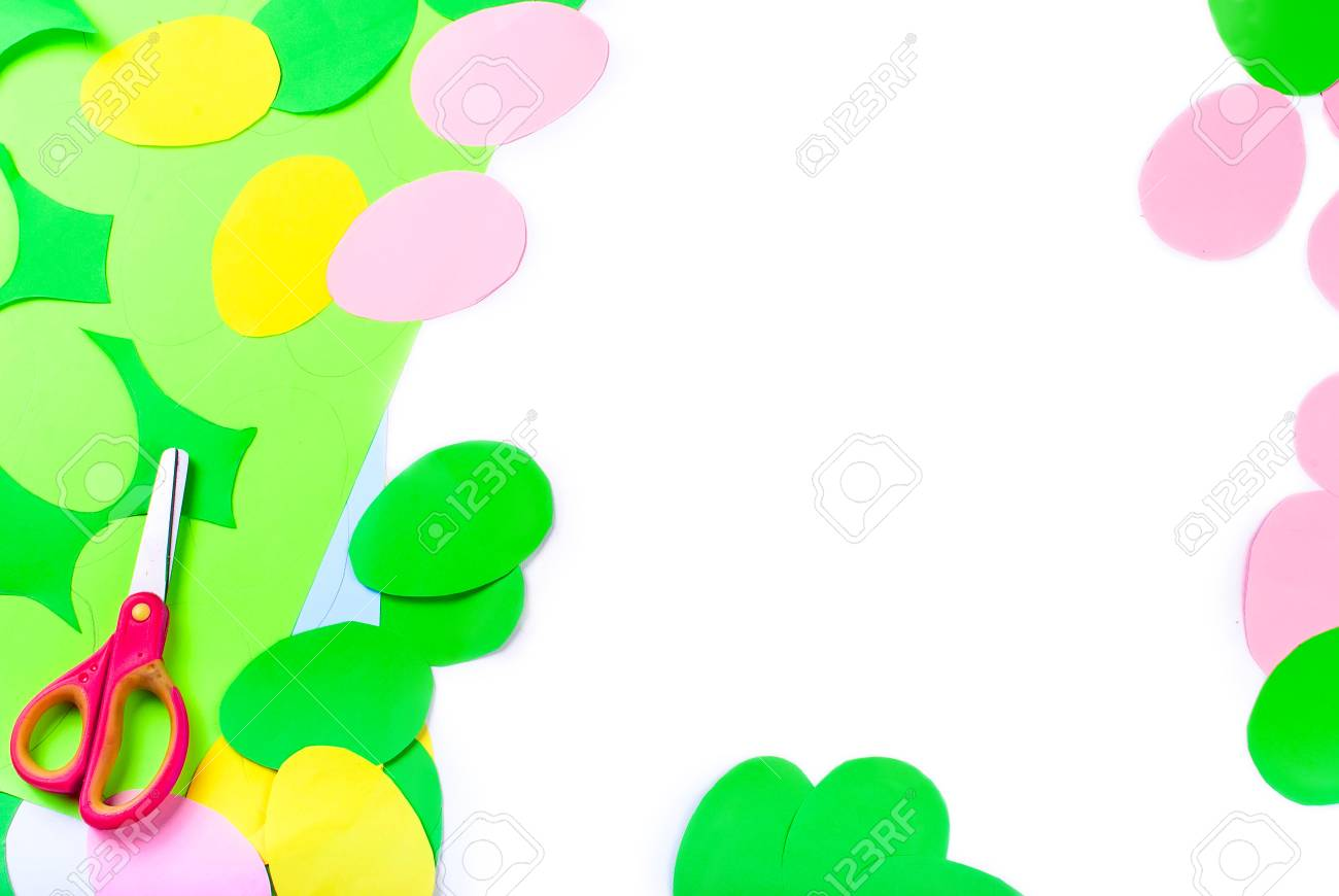 A Lot Of Paper Eggs Cut From Different Colors, Crafts With Children ...
