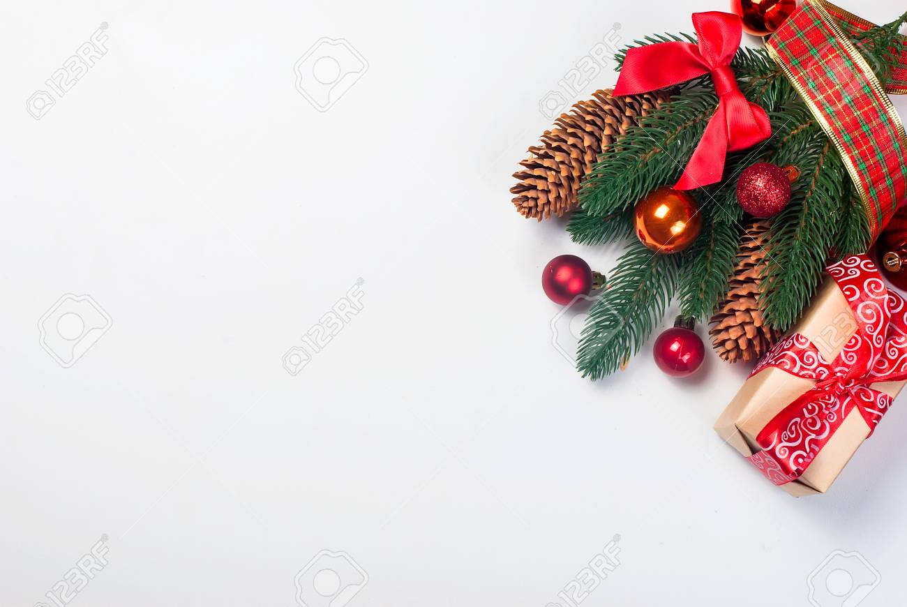 Merry Christmas Background.Christmas Background Merry Christmas Branches Balls Cones