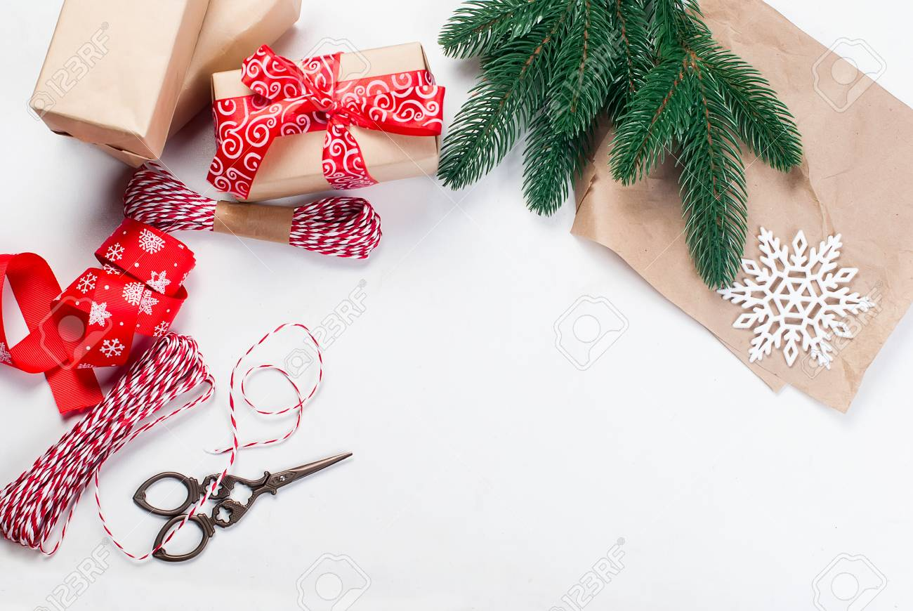 8d08ec6a16740 Wrapping presents background. Diy creative hobby, modern christmas..
