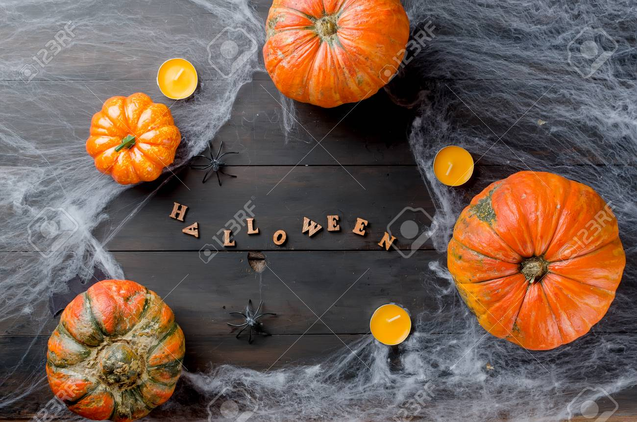 Halloween Decorations Pumpkins Spider And Cobweb With An Inscription