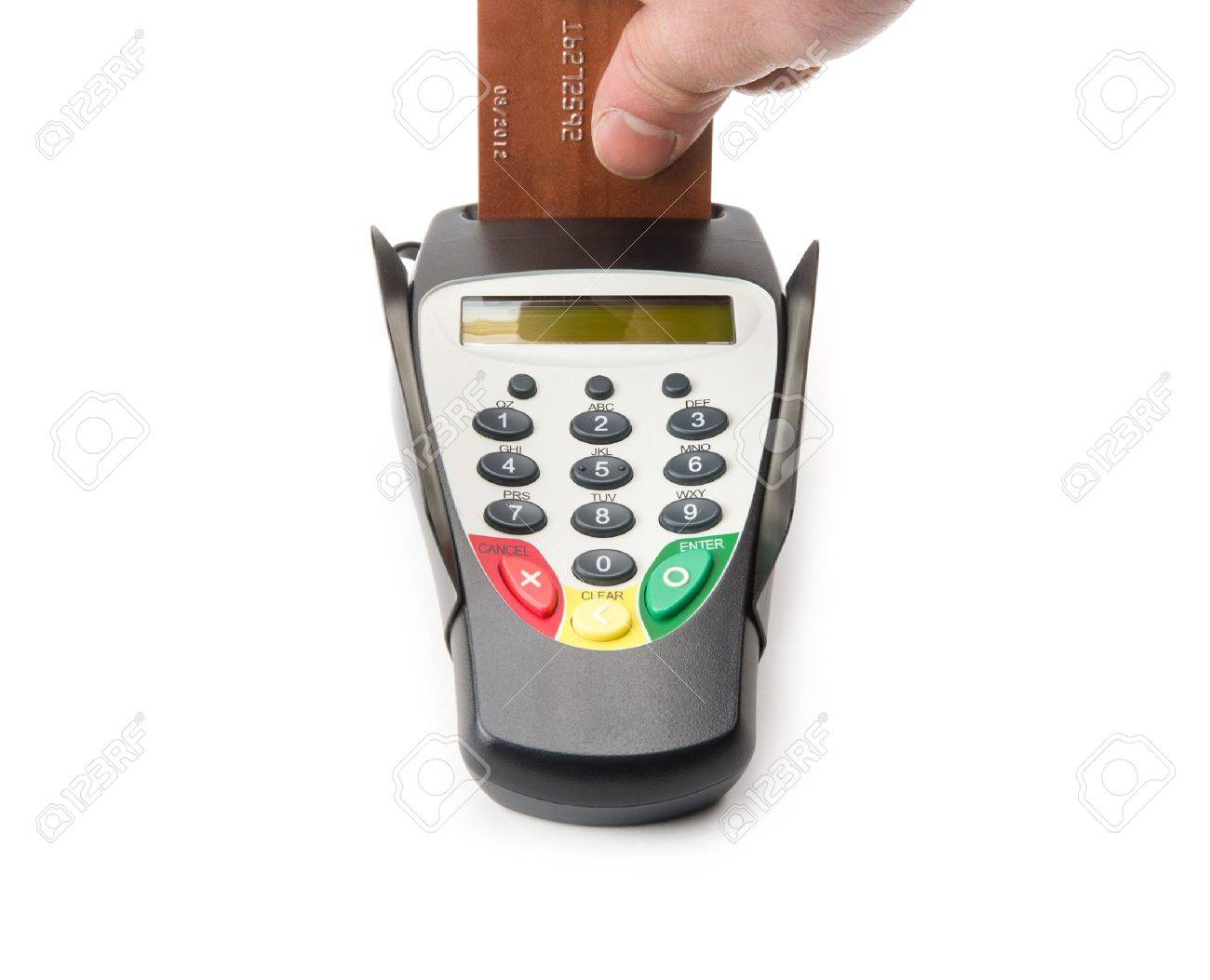 Image of banking terminal with hand and card Stock Photo - 17231654