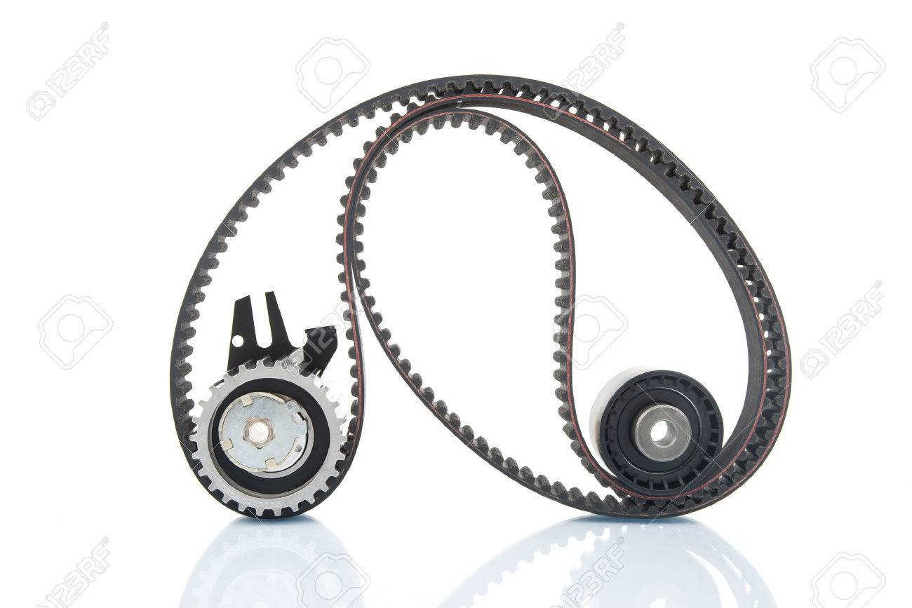 Image of timing belt with rollers selective focus - 24439892