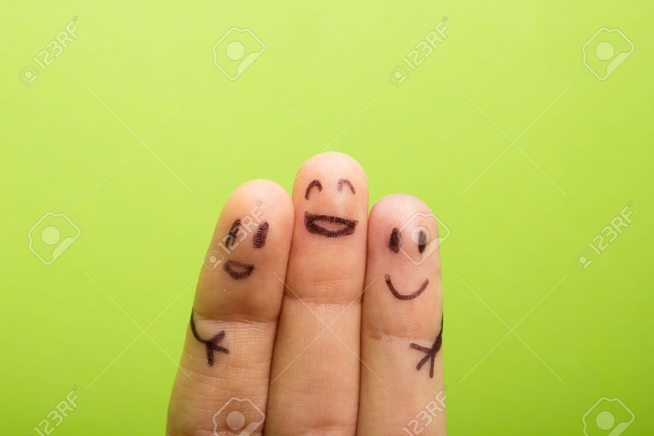three smiling fingers that are very happy to be friends, family concept - 50910348
