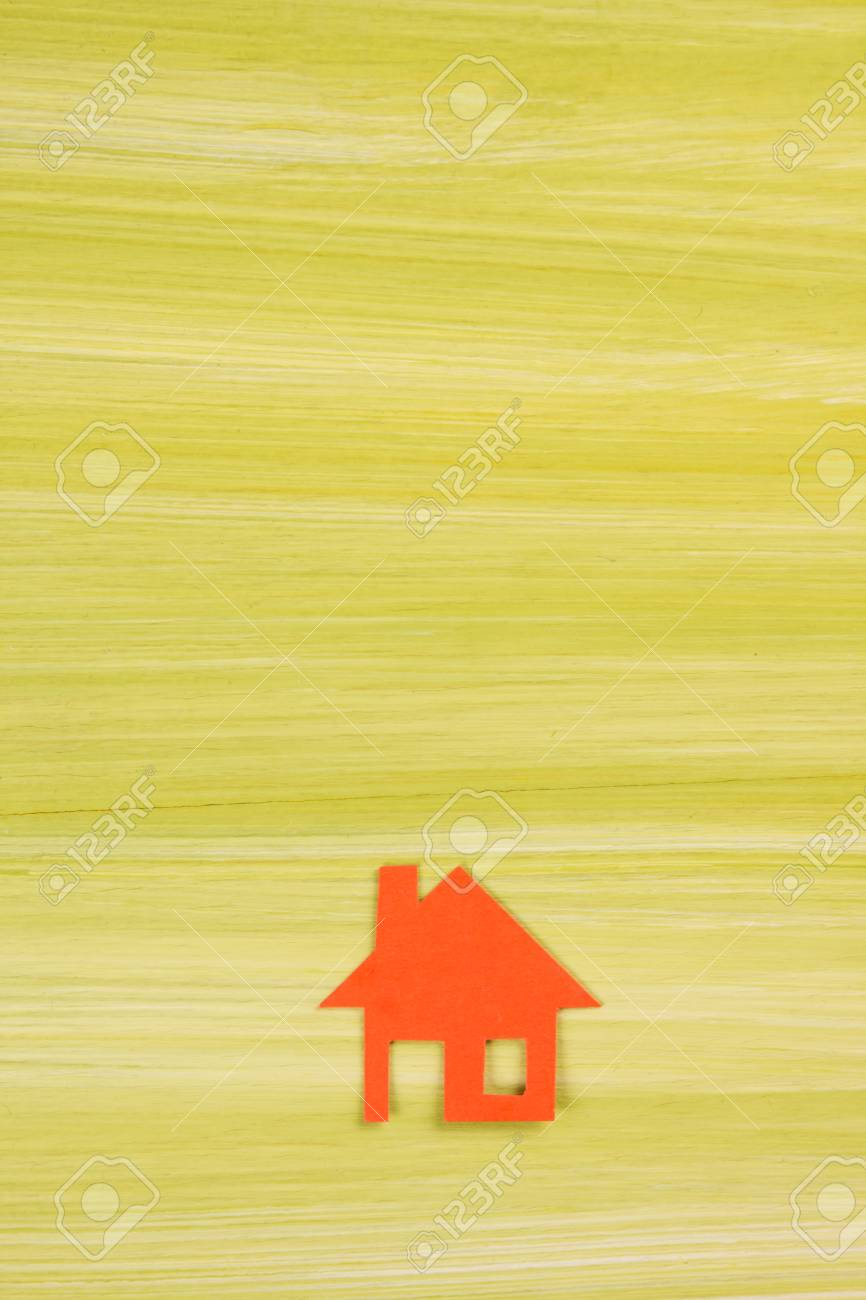 Paper house figure and blank business card on wooden background paper house figure and blank business card on wooden background real estate concept top reheart Gallery