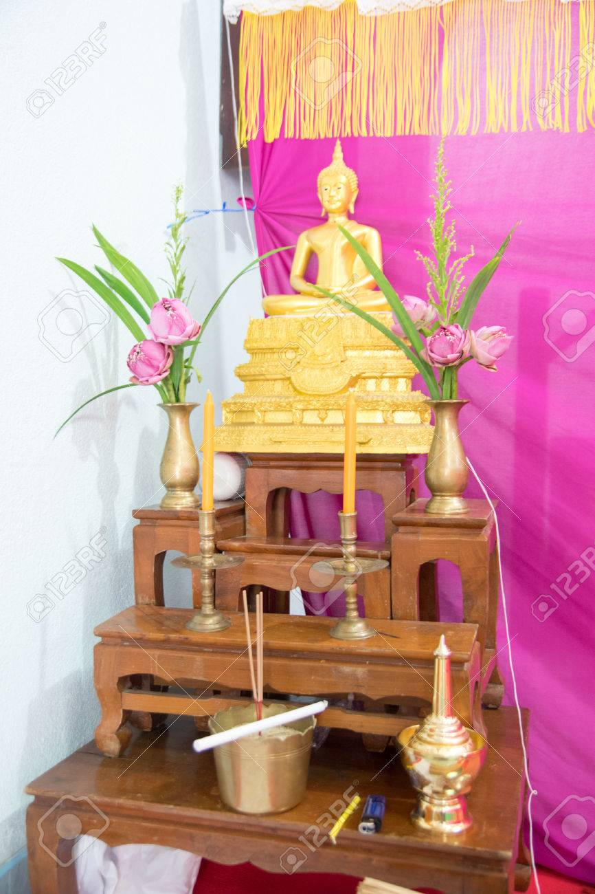 Set Of Thai Altar Table With Buddha Statue And Holy Water Dipper ...