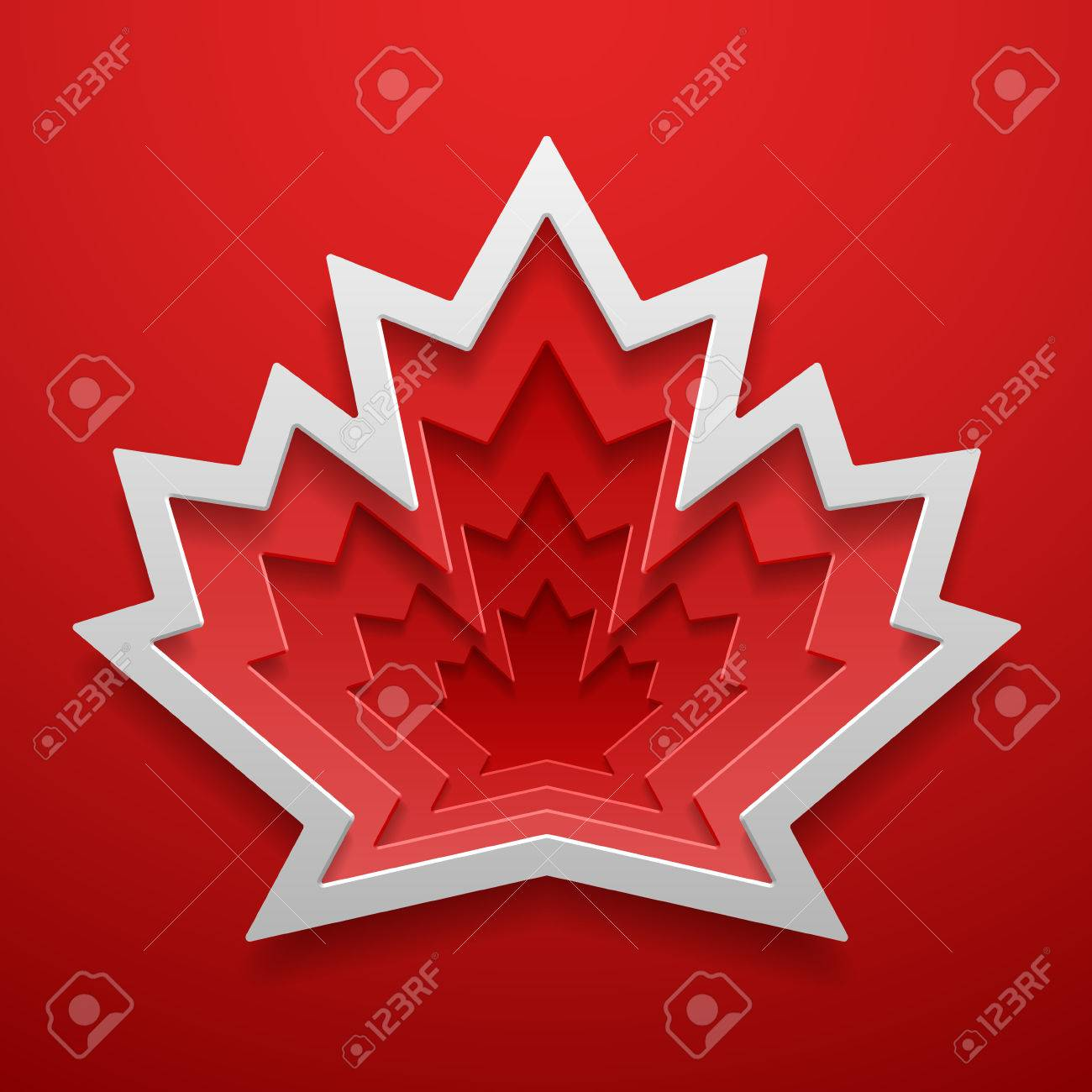 Maple Leaf Cutted Out Shape Canadian Symbol Decoration Template