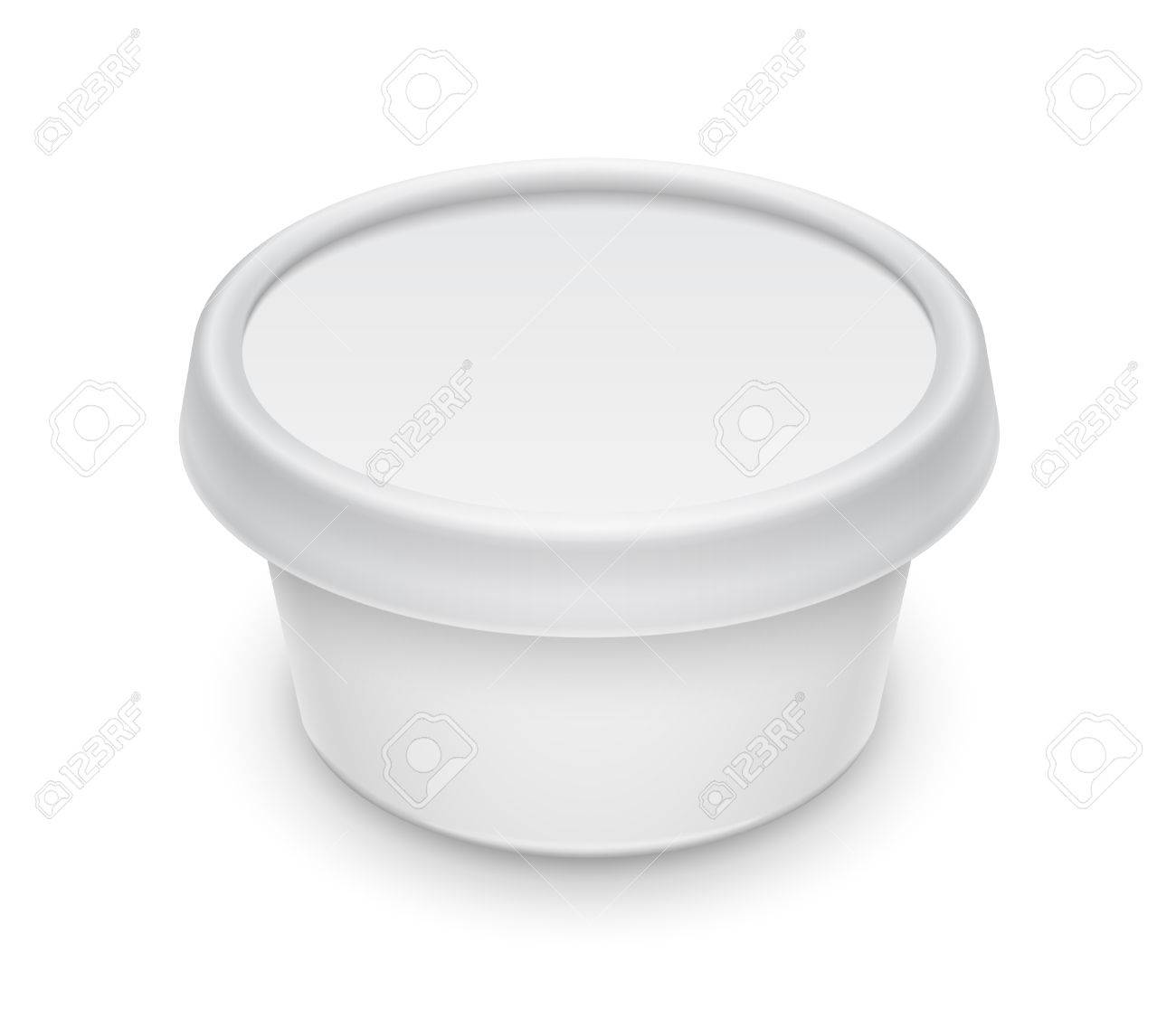 Vector White Round Container For Cosmetics Cream Butter Or