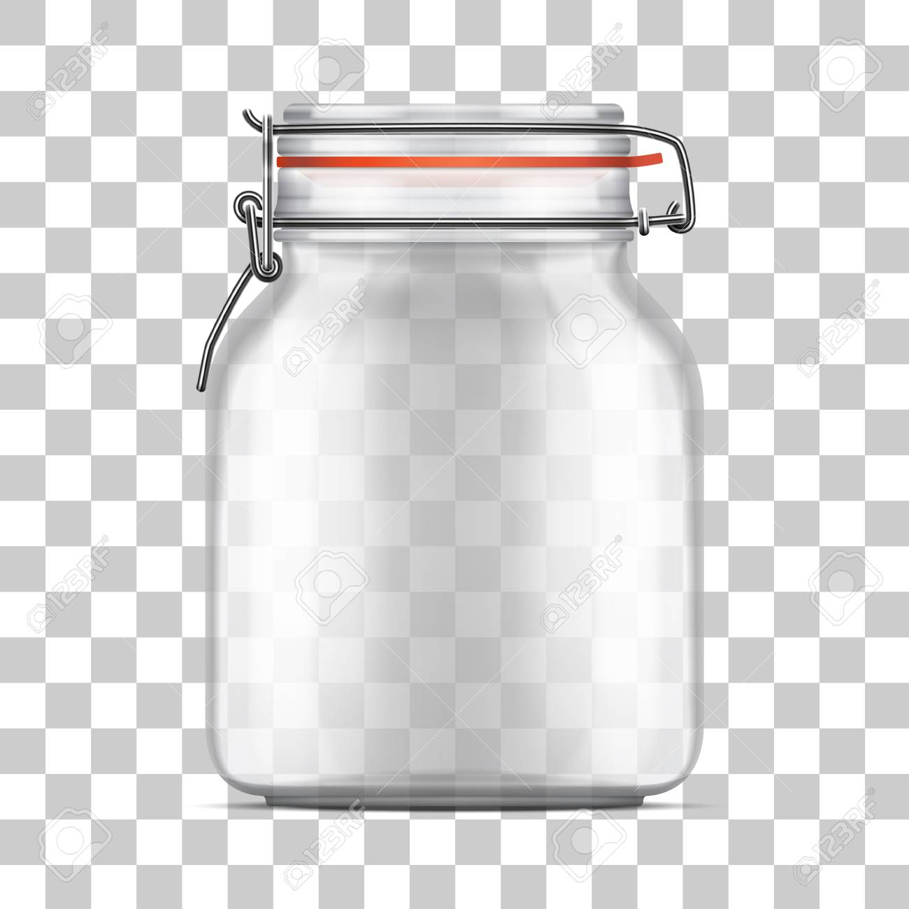 Vector Empty Bale Glass Jar With Swing Top Lid And A Rubber Gasket