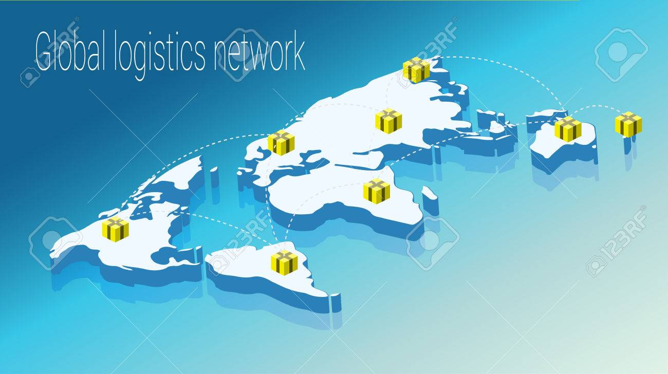 map world isometric concept 3d flat illustration of map world vector world map connection