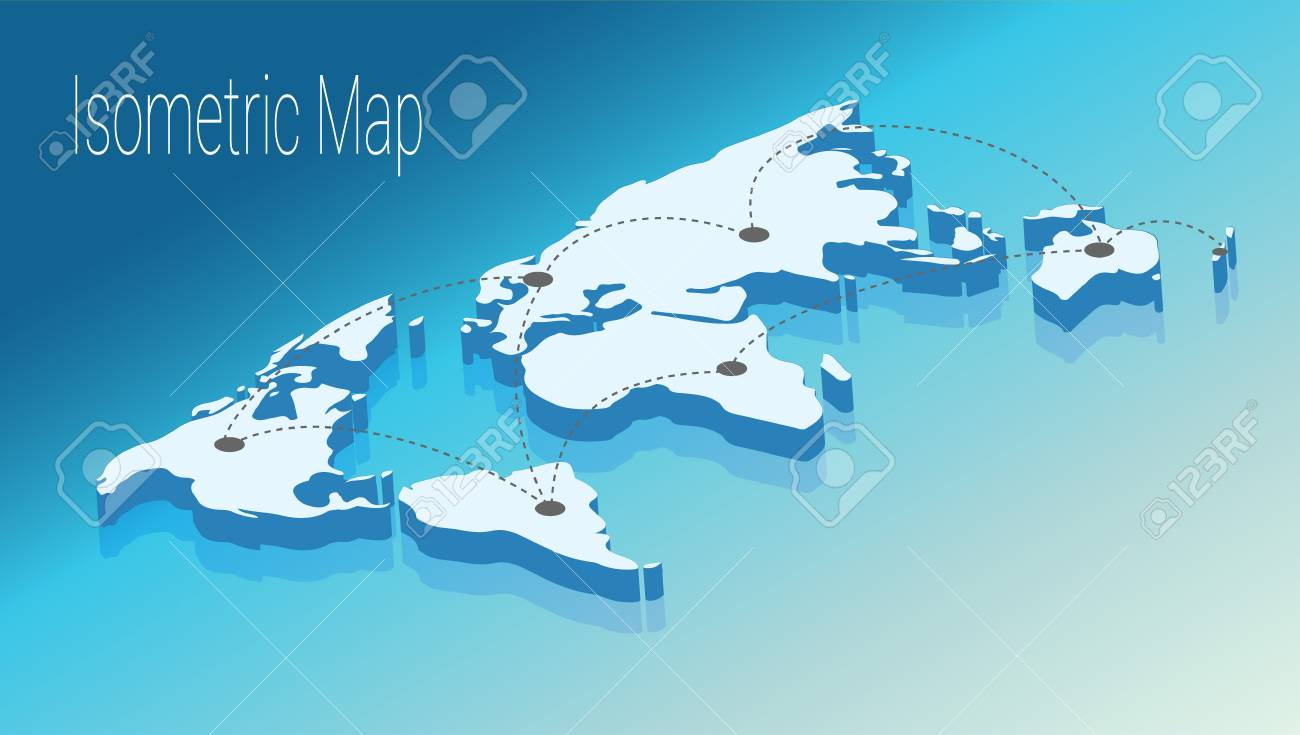 Map world isometric concept 3d flat illustration of map world map world isometric concept 3d flat illustration of map world world map connection political gumiabroncs Image collections