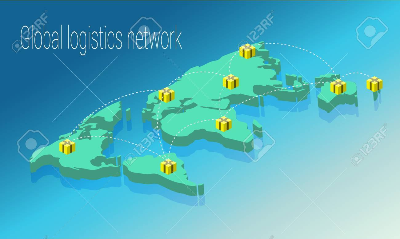 map world isometric concept 3d flat illustration of map world world map connection political