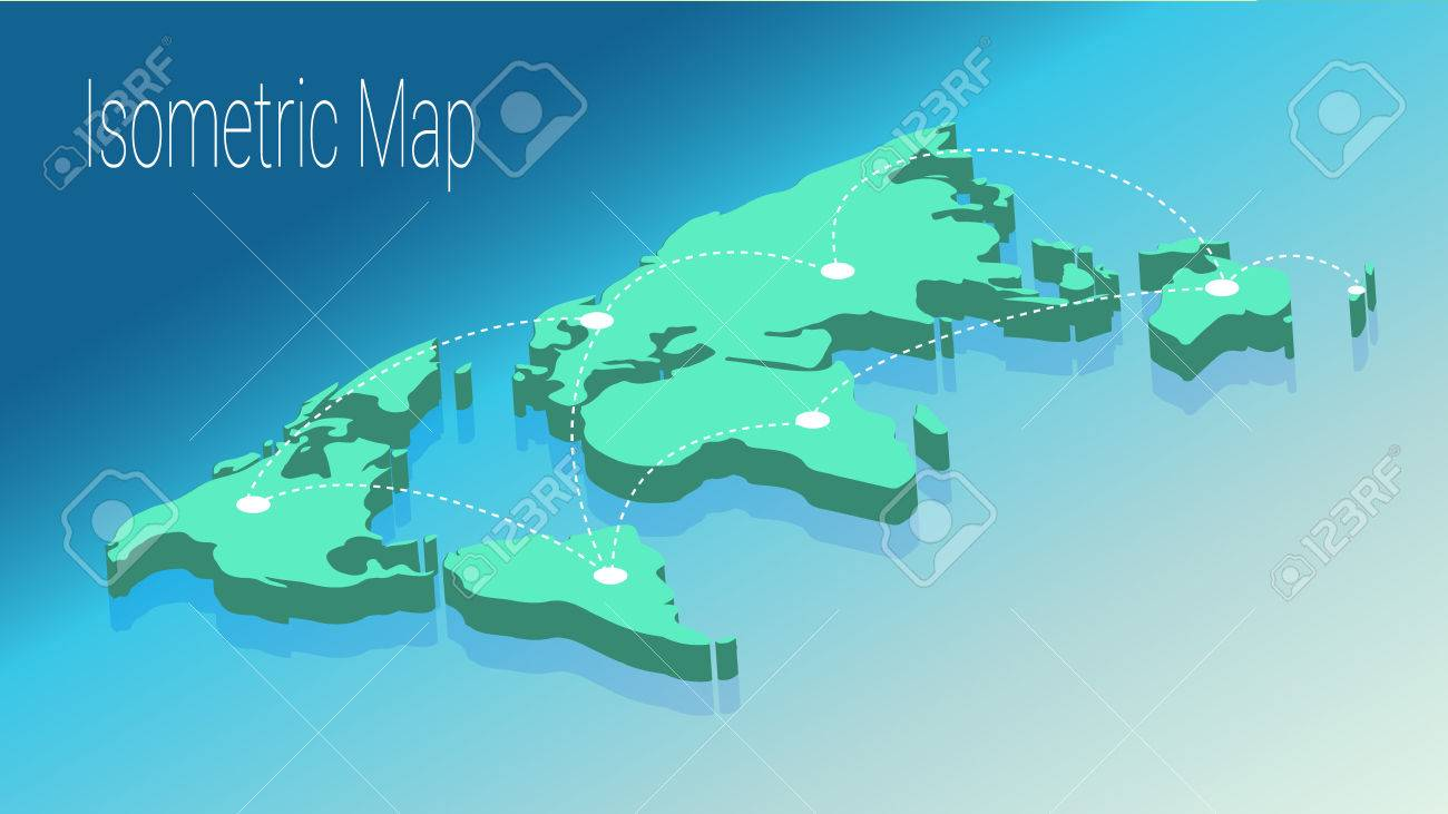 Map world isometric concept 3d flat illustration of map world map world isometric concept 3d flat illustration of map world world map connection political gumiabroncs Images