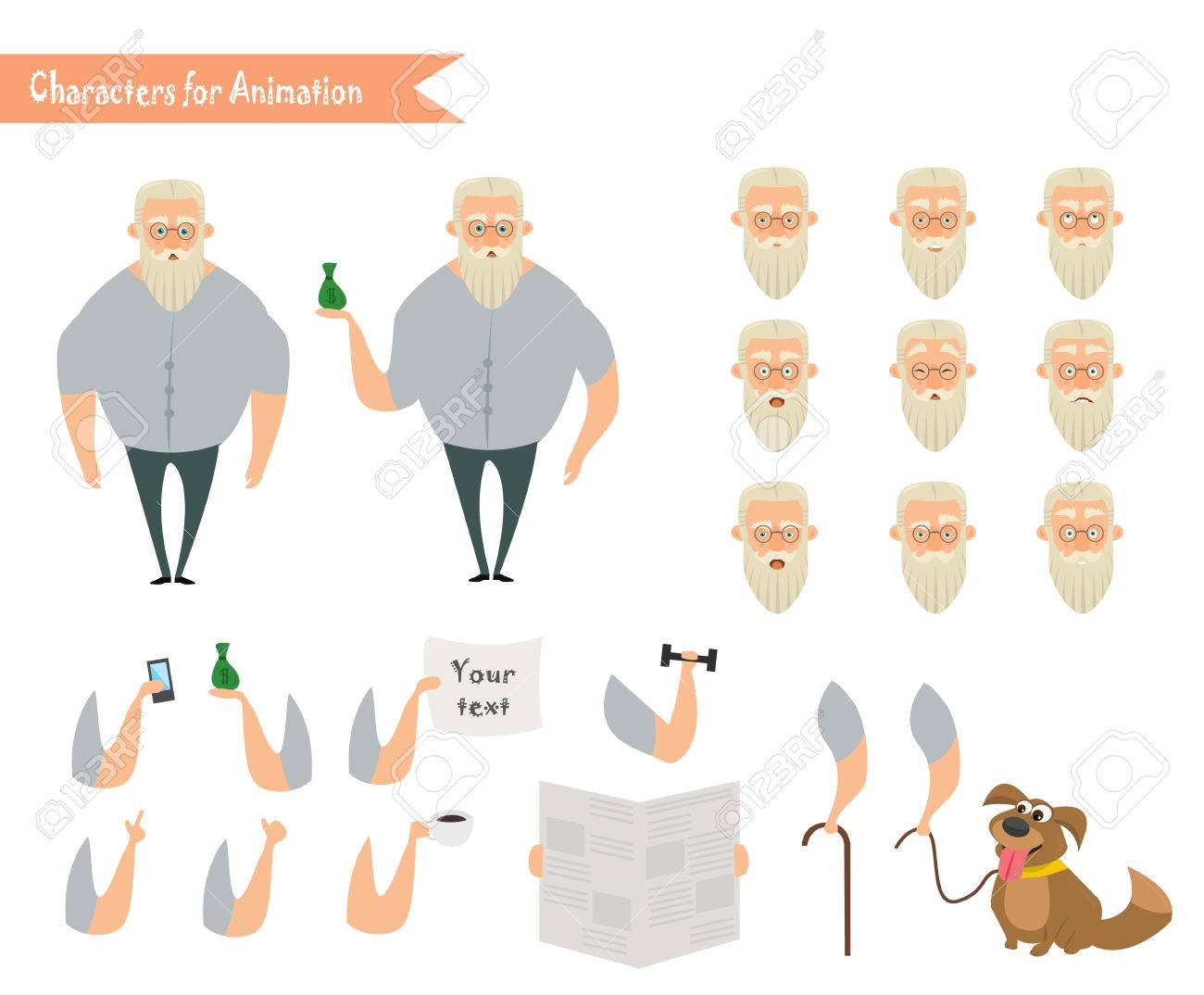 Grandfather character for scenes parts of body template for parts of body template for animation funny old man cartoon ccuart Choice Image