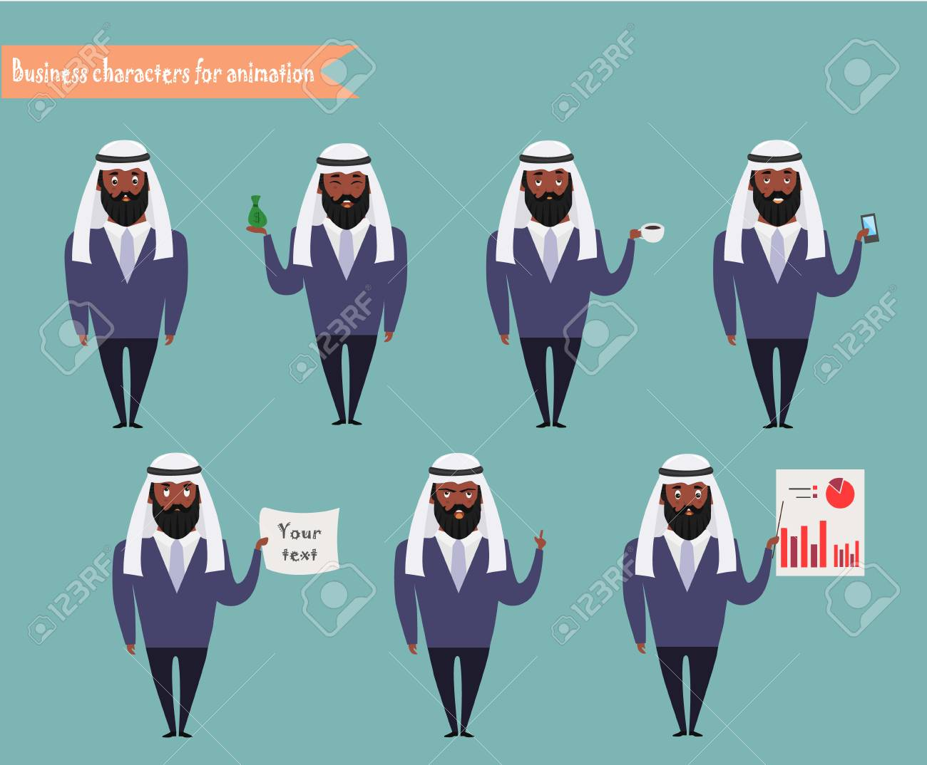 arab character for scenes parts of body template for animation