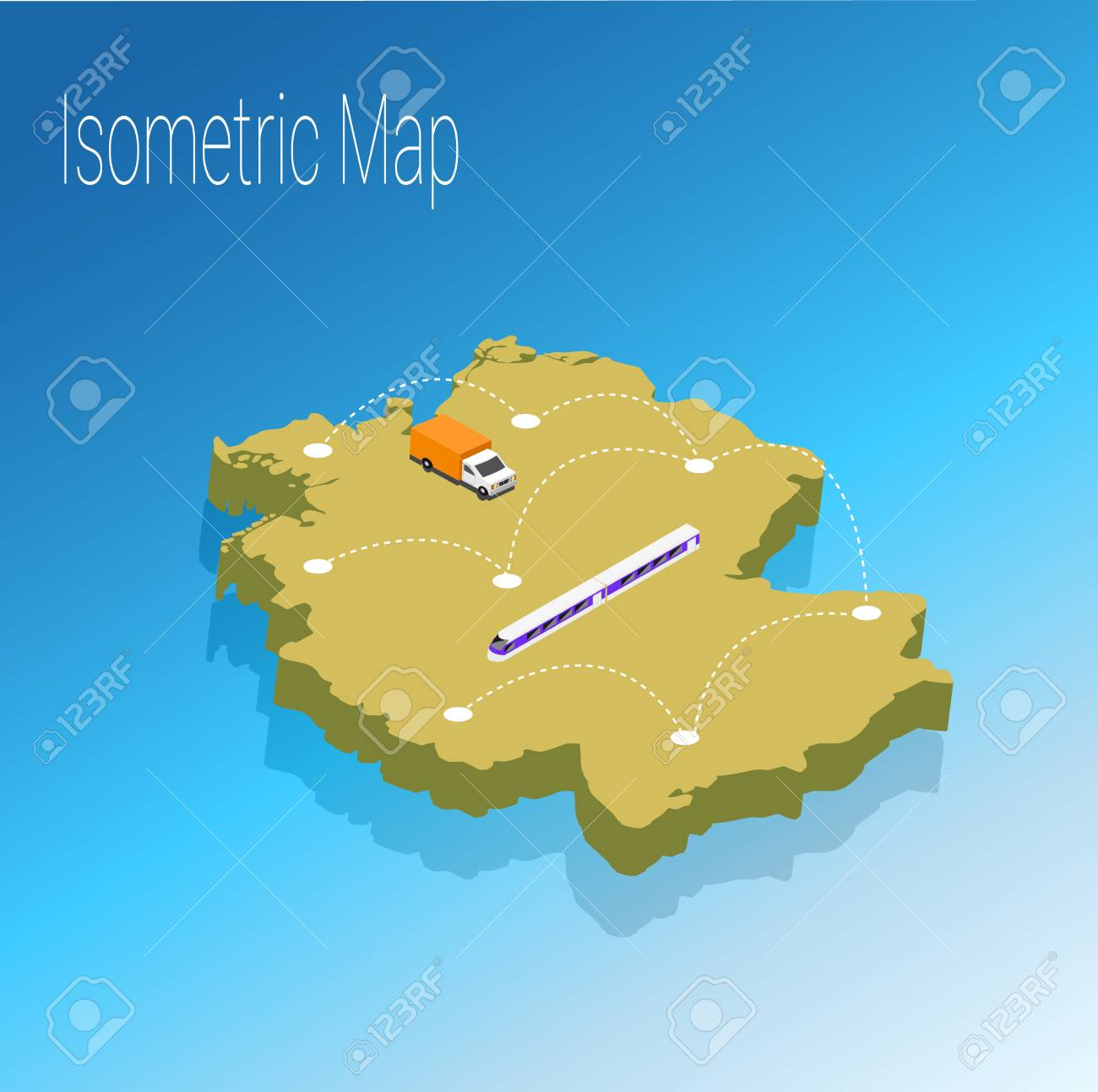 Map Of Germany 3d.Map Germany Isometric Concept 3d Flat Illustration Of Map Germany