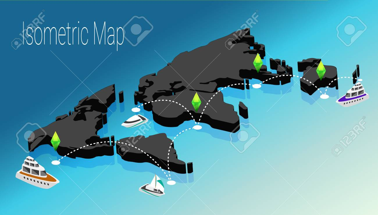 Map Of The World 3d.The Concept Of Isometric Map Of The World 3d Flat Illustration