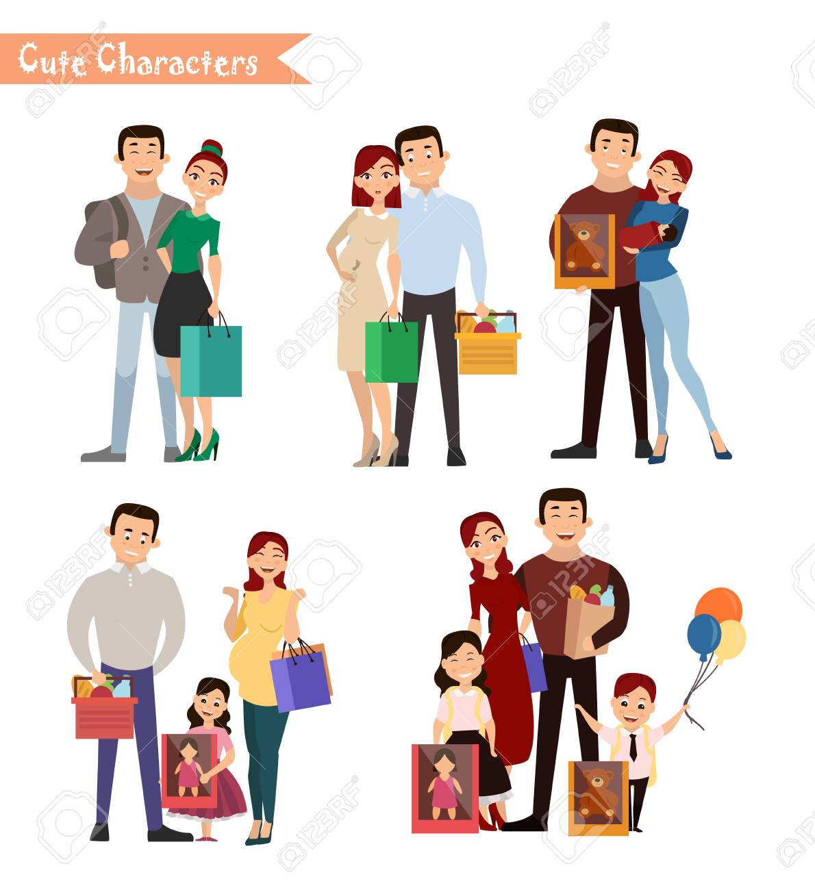 set of characters and people shopping vector illustration of rh 123rf com shopping vector freepik shopping vector