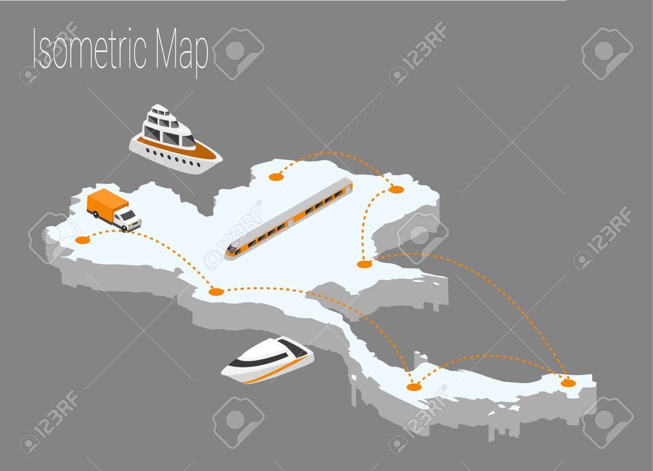 Map Thailand Isometric Concept. 3d Flat Illustration Of Map Thailand ...
