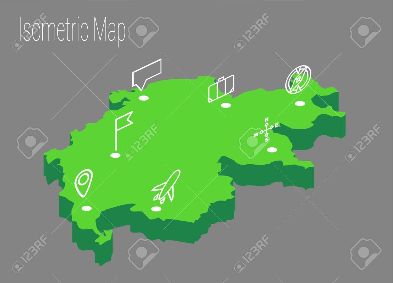 Map Switzerland Isometric Concept 3d Flat Illustration Of Map