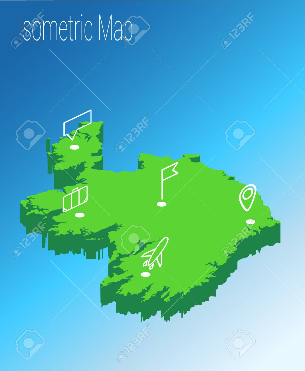 Map Of Ireland 3d.Map Ireland Isometric Concept 3d Flat Illustration Of Map Ireland